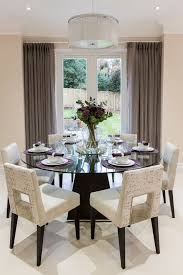 Dining Tables, Enchanting Black Round Modern Glass Dining Table Centerpiece  Ideas Varnished Design: cool