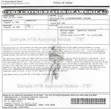 Sample Form I 797 H1b Approval Notice
