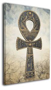 Egyptian ankh of isis with open wings and cartouche hieroglyphs wall decor 3d plaque figurine 7.5. Amazon Com Hd8yehao Ankh Egyptian Symbol Canvas Wall Art Prints Picture Contemporary Paintings Decorative Giclee Artwork Wall Decor Wood Frame Gallery Stretched Posters Prints
