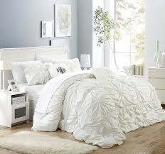 white pleated comforter.  Pleated Amazoncom Chic Home Halpert 6 Piece Comforter Set Floral Pinch Pleated  Ruffled Designer Embellished Bedding With Bed Skirt And Decorative Pillows Shams  To White I