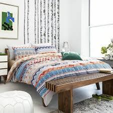bohemian gypsy rust style orange aqua white khaki and navy blue geometric aztec tribal chevron stripe print twin full size bedding sets