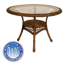 round wicker resin dining table