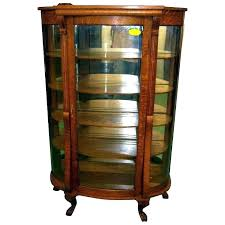 antique oak curio cabinet curved glass china or with