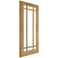 internal oak unfinished kerry 9l solid door with clear bevelled glass nm5gbunx