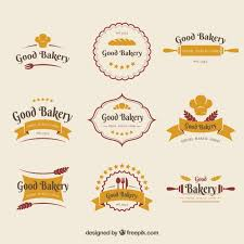 Collection Of Bakery Logos In Flat Style Vector Free Download