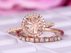 Morganite engagement ring with diamond,<b>Solid 18k Rose gold</b>,halo ...