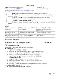 Resume - Commercial Account Manager. JAWAD RAZA 1603 - 4070 Confederation  Parkway 647-869-7292 Mississauga, ...