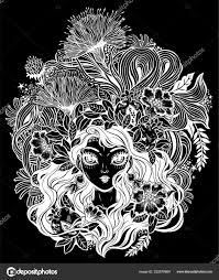 девушка с цветами листья и граната волос векторное изображение