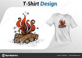 Bonfire T Shirt Design Cartoon Bonfire Flat T Shirt Print Mock Up T Shirt Design