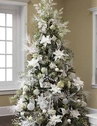 Beautiful Christmas White Decoration in Home : Exciting Silver And Christmas  White Decorations Ideas Christmas Tree