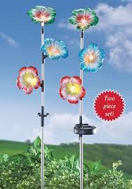 solar garden flower stakes petunia set of 2 yard walkway solar garden decor