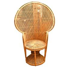 Mid Century Modern Wicker Peacock Fan Chair Large