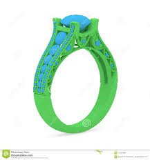 3d printing jewelry enement ring 3d model green wax with blue color diamonds on a white isolated background with shadow