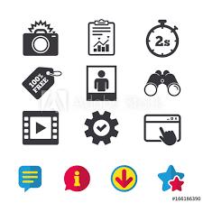 Photo Camera Icon Flash Light And Video Frame Symbols