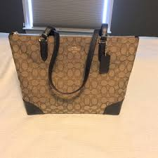 New Coach Signature Jacquard Handbag Zip Top Tote