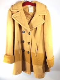 details about vintage hudson s bay company wool yellow gold point blanket winter coat jacket