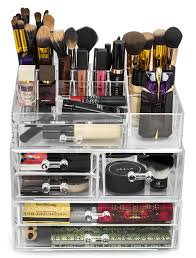 sorbus acrylic cosmetics makeup and jewelry storage case display sets interlocking drawers to create your own specially designed makeup counter each