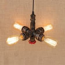 industrial bare edison bulbs chandelier in rust finish with valve accent 4 lights