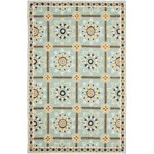safavieh dura hand hooked 6 x 9 runner area rug light blue dark blue only