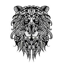 Small Picture Patterned Lion Head Adult Coloring Page Tshirt Bag Postcard Poster