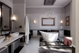 bathroom white ceramic modern sink stainless faucet black and bathroom floor tile varnished wooden frame