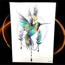 Watercolor Hummingbird Design Temporary Tattoo Stickers Fake Tattoo Waterproof Water Transfer Geometry Birds Tatoo Delphinium