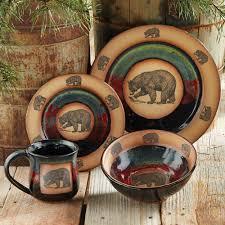 Rustic Star Kitchen Decor Rustic Wildlife Dinnerware Sets With Moose Bear Designs