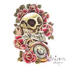 Velké Nalepovací Tetování Lebka Freedom