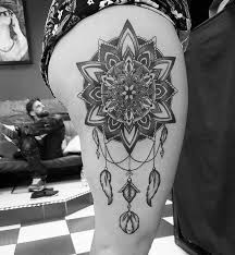 Dream Catcher Tattoo On Thigh 100 Dreamcatcher Tattoo Designs for Women Art and Design 21