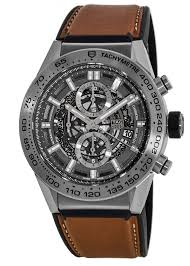 tag heuer carrera calibre heuer 01 automatic chronograph skeleton dial 45mm leather strap men s watch car2a8a ft6072 watchma com