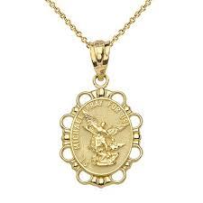 solid yellow gold saint michael pendant