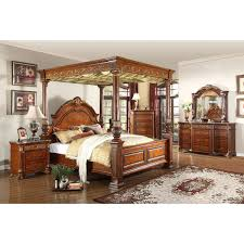 Meridian Furniture Royal Cherry Queen Canopy Bed w/ Ornate Carvings &  Marble Detail on Posts