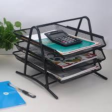 desk office file document paper. 3-Tier File Document Letter Paper Tray Sorter Collection Office Desktop Organizer Holder Shelf Metal Mesh Black Desk T
