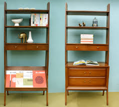 Bookshelf, Charming Mid Century Modern Bookcase Mid Century Modern Wall  Shelves Brown Bookcase With Books