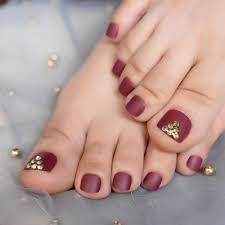 Toe Nail Gem Designs Fashion Fake Toe Nails Maroon Red Matte Short Nails For Toes