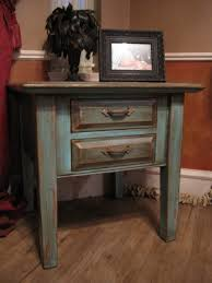 furniture turquoise end table with distressed gold highlights via refunk my leick chairside lamp drawer