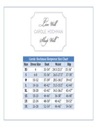 Fillable Online Carole Hochman Sleepwear Size Chart Fax