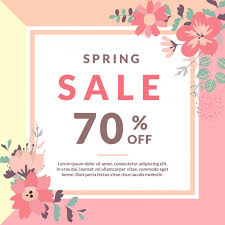 Spring Sale Template With Flower Vector Free Download