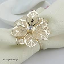 gold metal flower rhinestone napkin ring serviette holder napkin