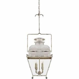 Antique white distressed lantern pendant - Holborn