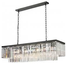 unique rectangle chandelier lighting odeon glass fringe odeon glass fringe rectangular chandelier