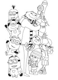 The minions coloring page shows dave running with a banana in one hand and apple in another. 4 Minions Coloring Pages Coworksheets