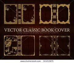 vector set clical book cover decorative vine frame or border to be printed on the