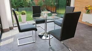 Glass Dining Table With Chairs Round Glass Dining Table Set For 4 Kitchen Table Chairs 5 Piece