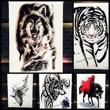 1шт 3d индийский волк тотем вспышки временные татуировки мужчин черные волки