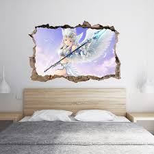 Maybe you would like to learn more about one of these? Anime Angel Girl 3d Hole In The Wall Effect Wall Sticker Art Decal Mural Blue Side Studio