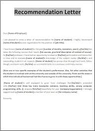 Examples Of Letter Of Recommendation Templatecaptureprojects In