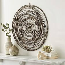 scribble circle rattan wall art