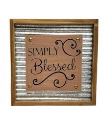 rustic inspirational wall decor wood and corrugated metal 11 75 simply blessed cljjfbnpj