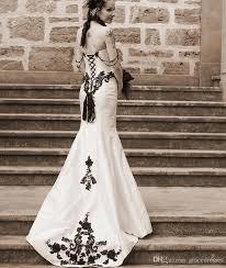 white and black gothic wedding dress mermaid sweetheart neckline